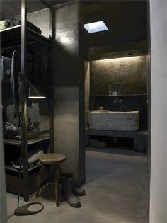♂ Masculine rustic interior dark bathroom