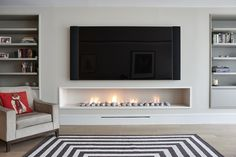 Hole in the wall gas fireplace, contemporary, modern style.