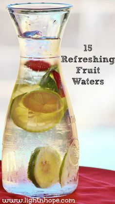 We all know that water is the healthiest beverage option but how can we make it taste fabulous? Check out my 15 easy ideas for fruit water flavors that will transport your day (or at least your beverage) from boring to day at the spa using just a few ingredients and 5 minutes.