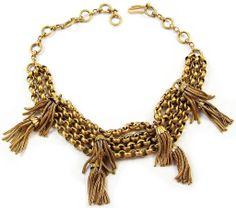 SCHIAPARELLI Antiqued Goldtone Gilt  Multiple Tassels Choker Necklace
