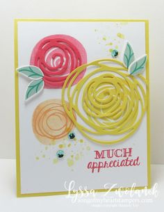 Swirls and scribbles Stampin Up appreciate you card by Lyssa Griffin Zwolanek, Song of My Heart Stampers