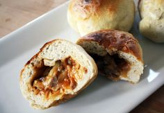 bbq cabbage and sausage stuffed sandwiches.