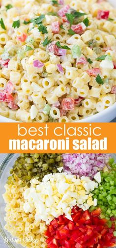Macaroni Salad with egg, sweet pickles and a creamy dressing is a tasty side dish. My best macaroni salad recipe is quick and easy to make! Cookout Side Dishes, Cookout Food, Side Dishes Easy, Side Dish Recipes, Easy Dishes For Potluck, Side Dishes For Party, Potluck Lunch Ideas, Camping Side Dishes, Bbq Recipes Sides
