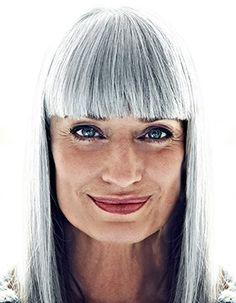 Model: Manuela from Portugal Pastel Blue Hair, Lilac Hair, Green Hair, Grey Hair Dye, Long Gray Hair, Dyed Hair, Grey Hair Transformation, Red Scene Hair, Silver White Hair