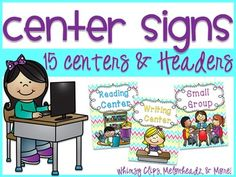 These center signs will be perfect in a BRIGHT PreK-1st classroom where centers are utilized. There are 15 centers with a bright chevron background. Whimsy Clips, Melonheadz, and more are featured as the clip art on each sign depicting the center choice.A PDF with two center signs per slide is included as well as the PNGs for each center sign so you can print to the size you need.