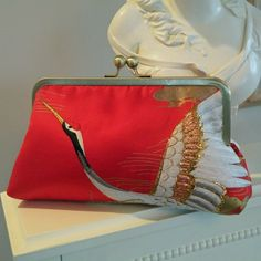 one-of-a-kind silk clutch made from a vintage Wedding Kimono - $175