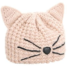 Karl Lagerfeld Choupette Beanie (€58) ❤ liked on Polyvore featuring accessories, hats, beanie, head, pink, sea shell, pointy hat, cat ear beanie, pink hats and karl lagerfeld