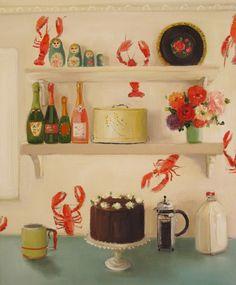 """Still Life- The Devil's Food Cake"" Art Print by Janet Hill Studio Janet Hill, Devils Food, Illustrations, Cake Art, Room Paint, Decoration, Fine Art Paper, Still Life, Fine Art Prints"