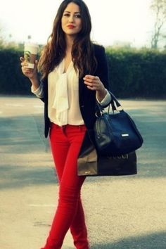 Red jeans casual Friday