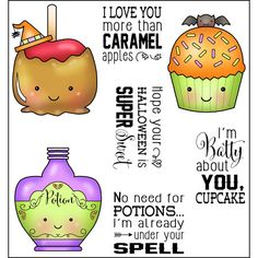 Sweet Halloween Halloween Cards, Fall Halloween, Christmas Cupcakes, Christmas Ornaments, Love You More Than, Clear Stamps, Caramel Apples, Paper Piecing, Cricut Design