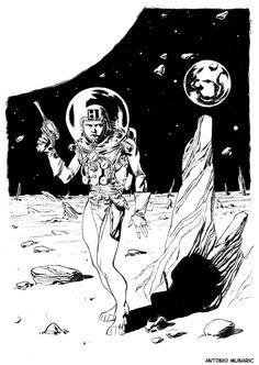 """Omaggio di Antonio Mlinaric per """"The Shadow Planet"""", progetto Radium in crowdfunding. #scifi #comics #character #crowdfunding"""