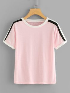 SheIn offers Striped Sleeve Tee & more to fit your fashionable needs. Fashion Clothes, Fashion Outfits, Casual Outfits, Cute Outfits, Plus Size T Shirts, Striped Fabrics, Striped Tee, Plus Size Outfits, Fashion News