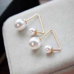 Women Korean Minimalist Gold Triangle Both Side Pearl Stud Earrings Ladies Pearls Earrings Wedding Party Studs Pearl Earrings Wedding, Pearl Stud Earrings, Pearl Studs, Tassel Earrings, Floral Embroidery Dress, Neon Dresses, Fashion Prints, Women's Fashion, Wallets For Women