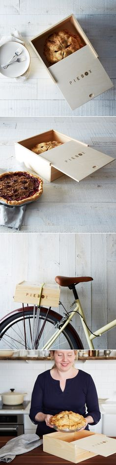 PieBox pie #packaging design. Love the wood and burned logo