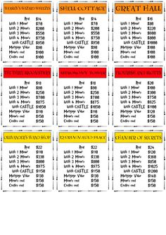photo regarding Printable Monopoly Property Cards called 60 Easiest Harry Potter Monopoly pictures within just 2018 Harry potter