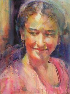 Fealing lin #watercolor #portrait .