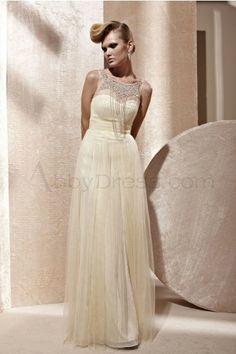 Romantic Bateau Sleeveless Satin Evening Dresses Daffodil