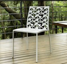 Foley Dining Chair for Sale - this dining chair brings a stylish flair to your dining room with its features of laser cut metal frame with matching lacquer seat.