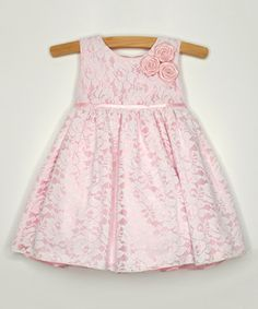 Look at this #zulilyfind! Pink Lace Rosette Dress - Infant, Toddler & Girls by Princess Faith #zulilyfinds