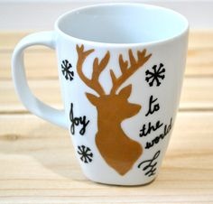 Joy To The World Holiday Mug  Reindeer Christmas by DreamAndCraft