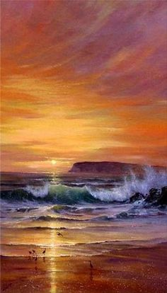 Sunset Painting Canvas Art Canvas Painting Hawaii Beach Seashore P . Beach Canvas Paintings, Hand Painting Art, Large Painting, Oil Painting On Canvas, Painting Classes, Painting Videos, Big Canvas Art, Chalk Painting, Painting Lessons