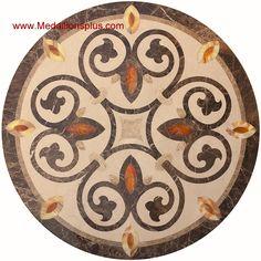 """SunStone WJCP-041, 48"""" Waterjet Medallion - MedallionsPlus.com - Floor Medallions on Sale. Tile, Mosaic, & Stone Inlays."""