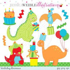 Hey, I found this really awesome Etsy listing at https://www.etsy.com/listing/209256897/birthday-dinosuars-cute-digital-clipart