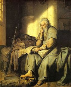 Rembrandt, The apostle Paul in Prison (1627) | There are darkened overpaintings on both sides of the seams of the panel.