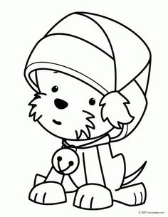 A cute kawaii Puppy wearing Christmas hat coloring page - Letscolorit.com