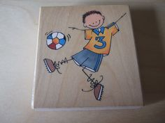 Penny Black Rubber Stamp Soccer Boy. Football / Soccer Boys Rubber Stamp