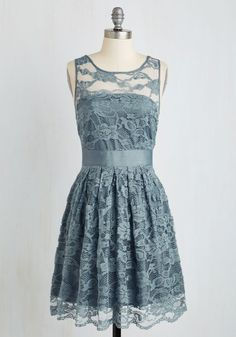 When the Night Comes Dress in Smoke by BB Dakota - Lace, Party, Sleeveless, Exclusives, Solid, Scoop, Wedding, Sheer, Bridesmaid, Graduation, Daytime Party, Variation, Grey, Blue, Prom, Spring, Lace, Mid-length, Best Seller, Social Placements, Full-Size Run, Pastel, Fit & Flare