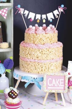 Rice Krispie cake at a sprinkles birthday party! See more party planning ideas… Rice Crispy Cake, Rice Krispie Cakes, Krispie Treats, Rice Krispies, Birthday Treats, Birthday Cake, Birthday Nails, Birthday Desserts, Birthday Recipes