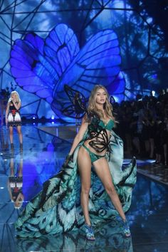 NEW YORK, NY - NOVEMBER 10: Model Gigi Hadid from California walks the runway during the 2015 Victoria's Secret Fashion Show at Lexington Avenue Armory on November 10, 2015 in New York City. (Photo by Jamie McCarthy/Getty Images)