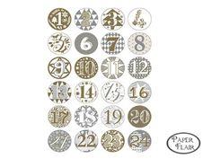 Buttons Adventskalender Zahlen