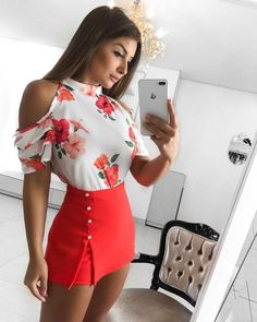White and coral chic style Skirt Outfits, Chic Outfits, Dress Skirt, Summer Outfits, Casual Dresses, Short Dresses, Fashion Dresses, Fashion Vocabulary, Chor