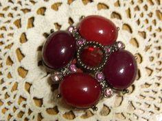 Vintage Fashion Costume BroochElegant Pin w/ Pink by ZiggyzAttic