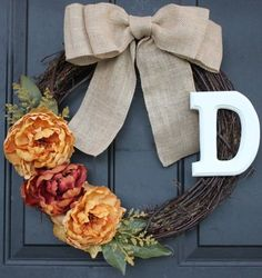 burlap wreath peonies - Google Search