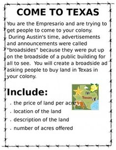 This is a great project for grade Texas History. It works great for studying the colonization of Texas and Empresarios. I also think, that with modifications, this could show the economical impact on Texas. 7th Grade Social Studies, Social Studies Notebook, Social Studies Classroom, Social Studies Activities, History Activities, History Classroom, Teaching Social Studies, History Teachers, Teaching History