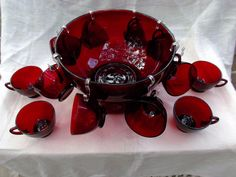 Anchor Hocking Royal Ruby Glass Punch Bowl Base and Twelve Punch Cups from saltymaggie on Ruby Lane