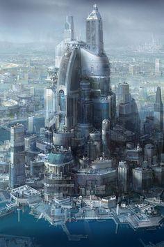 31 Ideas concept art city future science fiction for 2019 Fantasy City, Fantasy Places, Fantasy Landscape, Sci Fi Fantasy, Fantasy World, Futuristic City, Futuristic Architecture, City Architecture, Sci Fi City