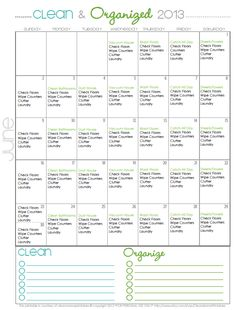 Clean + Organized - FREE Cleaning Calendar for June - Clean Mama