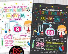 science birthday party invitation science birthday invitations science party invites chalkboard birthday party invitations you print - Science Party Invitations