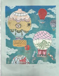 Hot Air Balloons XV - Multimedia - Lino Block Print Historic Hot Air Balloons in Cloudy Sky with Collaged Japanese Papers & Ephemera
