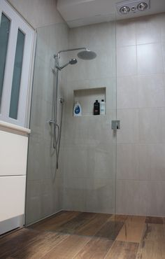 Great space saving technique - Shower Niche Frameless Shower Glass with a lovely Spin combination shower rail Heater Lamps are a must for the winter! Shower Rail, Shower Niche, Frameless Shower, Glass Shower, Downstairs Bathroom, Laundry In Bathroom, Master Bathroom, Bathroom Inspiration, Bathroom Ideas
