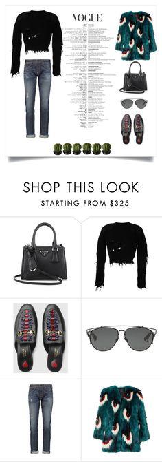 """Sem título #286"" by mcbscap on Polyvore featuring moda, Prada, adidas Originals, Gucci, Christian Dior, rag & bone e Meadham Kirchhoff"
