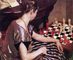 """Dipinto dal titolo """"La giocatrice di scacchi"""" (1929) a firma di Herbert A. Bird. #Scacchi #Chess"""