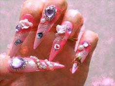 Stiletto nails long nails hime gyaru pink nails by Aya1gou on Etsy