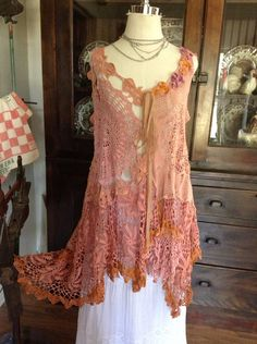 Luv Lucy Crochet Dress Lucy's Pink Sands Beach  by TheVintageRaven, $185.00