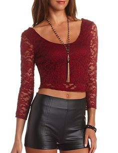 Plunging Double Scoop Lace Crop Top: Charlotte Russe