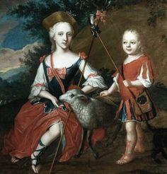 1750 Georg Mathias Fuchs (German Danish artist, 1719-1797) Boy and Girl as Shepherds with a Lamb